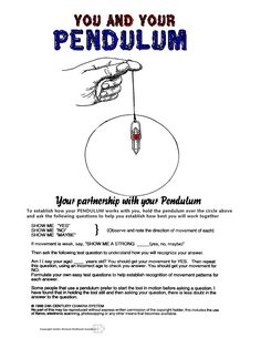 This quick reference chart help you understand how to use a pendulum and the reverse of the chart shows the various energy patterns that the pendulum shows and what each means in terms of the energy as it relates to your body.  $6.95