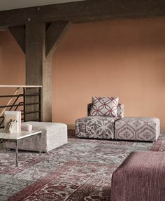 &Ex seating elements - colour carmine.  Photography: Alexander van Berge   Styling: Bregje Nix.
