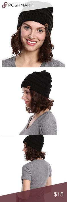 Cable Knit Beanie!! Color black! Warm and cozy this is an essential for winter time!  100% Acrylic! Accessories Hats