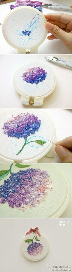 """Há níveis de bordado hortencia bordada flor [ """"step by step hydrangea embroidery. It"""