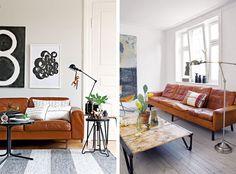 Inspiratie: Lichtbruine leren bank in je woonkamer | Woonguide.nl