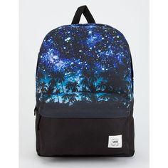 Vans Palm Night Realm Backpack ($40) ❤ liked on Polyvore featuring bags, backpacks, shoulder strap backpack, pocket backpack, palm tree backpack, padded backpack and knapsack bag