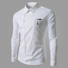 Men's Oblique Buckle Deer Embroidery Shirt Casual Personalized Long Sleeve Shirt at Banggood