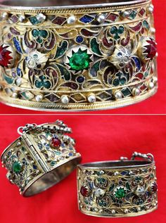 Tunisia - Djerba | Hadida bracelets; gilt silver with glass tones, granulation and enamel. Lightweight, done in a very typical and popular style. High quality of enamel, not often found | ©Edith D, via ethnic jewels