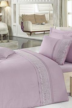 Evlilik Listesi - Ev Tekstili - Çift Kişilik Gipürlü Pamuk Saten Nevresim Takımı Belinda Lila 0028171 %40 indirimle 239,99TL ile Trendyol da