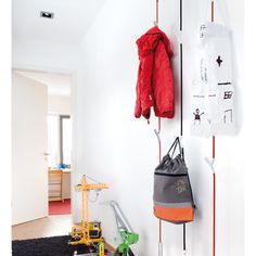 Ceiling hanging storage hooks for Jacob's room. Hanging Coat Rack, Hanging Storage, Coat Hanger, Coat Hooks, Storage Hooks, Design3000, Lany, Home Projects, Wardrobe Rack