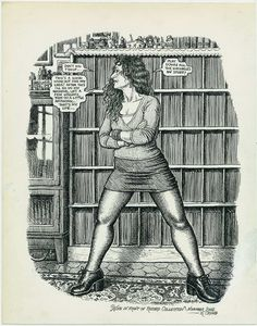 Robert Crumb's illustration of Aline Crumb while using his very own record collection as a background. Robert Crumb, Fritz The Cat, Alternative Comics, Wow Art, Comic Books Art, Erotic Art, Illustrations Posters, Illustrators, Illustration Art