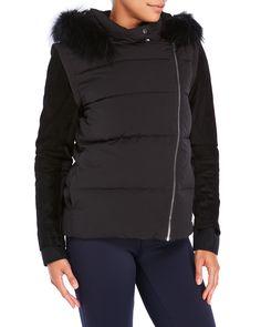 Maje Glace Real Fur Trim Padded Down Jacket