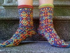 Turkish design.  Ravelry: Project Gallery for Kilim Socks pattern by Abby Rammelkamp