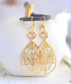 Champagne Statement Earrings in Gold. Large Gold Earrings by RusticGem.