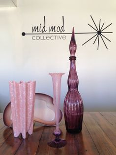 Pretty in pink. And purple! Glass and ceramic accessories. Now Available now at Mid Mod Collective. Email midmodcollective@gmail.com for more info.