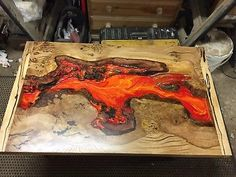 Handcrafted solid wood Coffee table, Burr Oak & Spalted Sycamore with Lava Resin Solid Wood Coffee Table, Rustic Coffee Tables, Wood Resin Table, Wooden Tables, Diy Wood Projects, Wood Crafts, Home Design, Wood Furniture, Outdoor Furniture