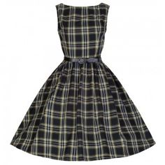 Lindy Bop Black Tartan Audrey Dress