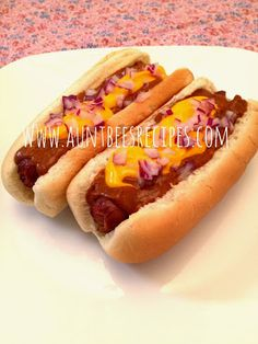 Crock Pot Chili Cheese Dogs  Get this and more family friendly and budget friendly recipes at www.auntbeesrecipes.com