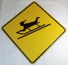 Vintage (CHILDREN AT PLAY) SLED CROSSING / CAUTION ROAD SIGN looks DOT Approved