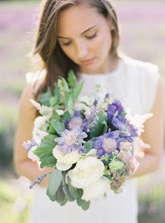 Purple and white bouquet inspired by a lavender field