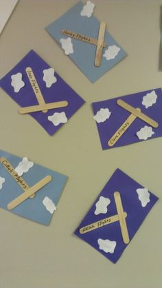 A for airplane stick craft. VERY easy and kids loved it airplanes and automobile week Transportation Theme Preschool, Preschool Themes, Preschool Crafts, Activities For Kids, Transportation Worksheet, Preschool Learning, Daycare Crafts, Classroom Crafts, Reggio Classroom