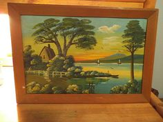 Vintage Oil on Board ~ Florida Highwaymen Style ~ Painting ~ Mid Century Modern signed