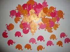 Items similar to 100 bright pink and orange glitter and shimmer elephant confetti- baby girl shower- birthday party- elephant theme on Etsy Elephant Party, Elephant Birthday, Elephant Theme, Elephant Wedding, Pink Elephant, Baby Girl Shower Themes, Baby Boy Shower, Baby Theme, Pink Love