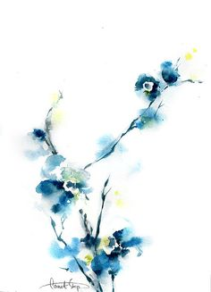 Blue blossoms watercolor painting