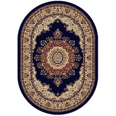 Soho 4707 Navy Blue Oval Traditional Area Rug (5'3 x 7'3) - Overstock™ Shopping - Great Deals on Round/Oval/Square