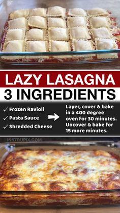 Italian Recipes, Crockpot Recipes, Cooking Recipes, Italian Dishes, Lazy Lasagna, Ravioli Lasagna, Ravioli Bake, Quick Meals, Dinner Recipes Easy Quick