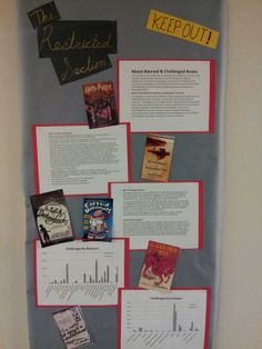 Banned books bulletin board #harry potter #RA #restricted section