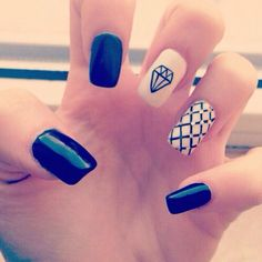 nails, black, and diamond resmi