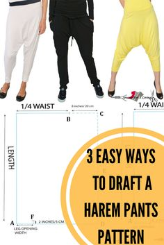 This is a pattern making tutorial on how to draft harem pants. Learn three different ways to do it and pick the one you like most.