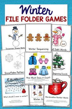 Low-Prep Winter File Folder Games – Set of 10 Activities! File Folder Activities, File Folder Games, File Folders, Kindergarten Activities, Preschool Activities, Preschool Worksheets, Counting Activities, Time Activities, Preschool Printables
