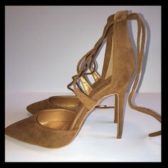 Suede-like Light Brown Pointed Toe Lace Up Heels New size 11 Shoe Republic LA heels.  These tie up around the ankle and have a pointed toe.  Faux suede material in a light tan or brown.  Please comment if you have any questions. Sorry, no trades. Offers considered  Shoe Republic LA Shoes Heels