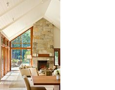Connors House - Estes/Twombly Architects.   Love the open floor plan, fireplace, transom windows.