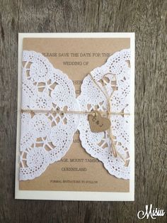 @Kristina Kilmer Kilmer Allen Simply Lace Save The Date Card - by Misiu on madeit