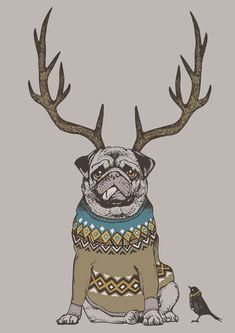 Deer Pug Art Print by Huebucket ! Free Worldwide Shipping Available Today! http://bit.ly/1vD2SlQ