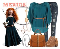 """Merida"" by janastasiagg ❤ liked on Polyvore featuring Jennifer Meyer Jewelry, Merida, Midsummer Star, Steven by Steve Madden, American West, disney, disneybound, Disneyprincess and disneyinspired"