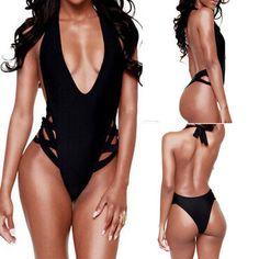 Women's Sexy One Piece Swimwear High Cut Monokini Backless Swimsuit Bikini Black #Handmade #Monokini