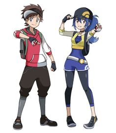 ♥ Girl... Boy... Blue Hair... Brown Hair... Female Protagonist... Male Protagonist... Pokeball(s)... Anime ♥