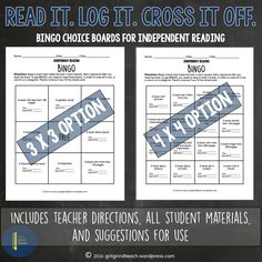 Do your middle school students struggle with choosing books to read independently? Gamify choice reading with these bingo style choice boards for independent reading. Read it. Log it. Cross it off. Reading Resources, Reading Strategies, Teaching Reading, Guided Reading, Teaching Tools, Student Reading, Middle School Ela, I School, English Teaching Materials