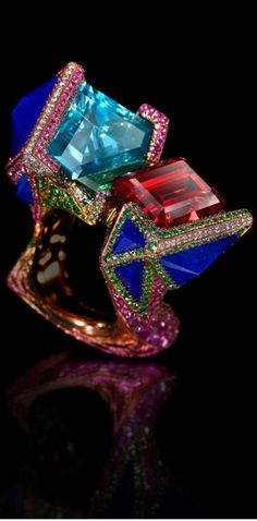 {My Dreams Ring by Wallace Chan featuring aquamarine, tourmalines, lapis lazuli, tsavorite garnet and pink sapphires (POA)} ❥❥Haute Tramp