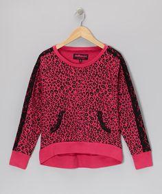 Look at this #zulilyfind! Hot Pink Leopard Top - Girls #zulilyfinds