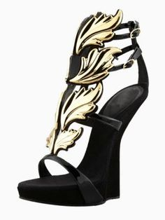 Suede Gold Leaf High Wedge Sandals