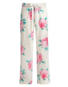 Joules Womens Roll Up Pyjama Bottoms, Cream Floral.                     We listened to our customer feedback when we were designing these pyjama bottoms and created a roll-up pair with a fixed button that allows them to be worn full length or three quarters. In 100% cotton and in a signature floral print we think you'll see a lot of them this summer.