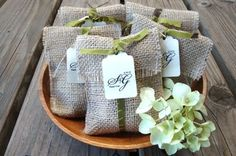 DIY-Burlap wedding favor bags!
