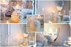 white winter mantel decoration snow glass