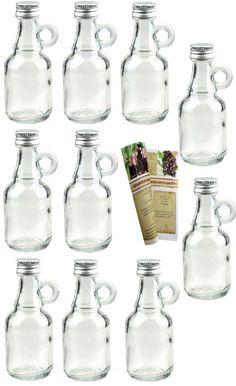 """40 leere Mini Glasflaschen """"Henkel"""" 40 ml Glasfläschchen kleine Flaschen incl. Schraubverschluss, Likörflaschen zum selbst Abfüllen Schnapsflaschen Essigflaschen Ölflaschen"""