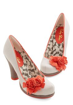 Festoon As Possible Heel. Adorned at the platform toes by a trio of velvety coral rosettes, this vegan faux-leather pump quickly adds a classy touch to your ensemble! #grey #modcloth
