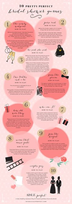 My fellow wedding enthusiasts, this infographic will save you many fights in the future. Check out 10 go-to bridal shower games for your next bridesmaid role. As a professional bridesmaid, I take bridal showers very seriously. One of the major things to t Bridal Shower Party, Bridal Showers, Games For Bridal Shower, Bridal Shower Activities, Bridal Shower Newlywed Game, Lingerie Shower Games, Bridal Shower Questions, Lingerie Party, Baby Showers