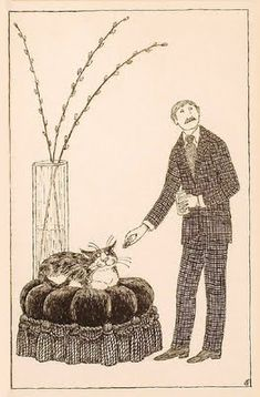 Edward Gorey - Illustration - Man Offering Cat a Treat Edward Gorey, Edward Lear, Men With Cats, Up Book, What Do You Mean, Cat Lady, In This World, Creepy, Illustration Art