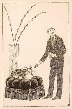 Man Offering Cat a Treat - Edward Gorey
