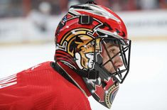 OTTAWA, ON - NOVEMBER Mike McKenna of the Ottawa Senators looks on during warmup prior to a game against the Buffalo Sabres at Canadian Tire Centre on November 2018 in Ottawa, Ontario, Canada. (Photo by Andre Ringuette/NHLI via Getty Images) Goalie Mask, Nhl Games, Buffalo Sabres, Canadian Tire, Mask Design, Football Helmets, Ottawa Ontario, Hockey Stuff, Centre